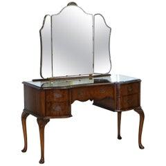 Vintage circa 1930s Burr Quarter Cut Walnut Dressing Table Tri Fold Mirrors