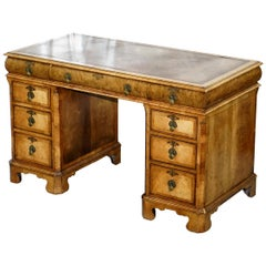 Extremely Rare circa 1815 Regency Solid Burr Walnut Cushion Drawer Pedestal Desk