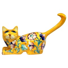 Vintage Italian Innocenti Pottery Atomic Yellow Glaze Cat Figure Raymor