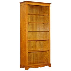 Lovely Golden Solid Walnut Library Bookcase with Adjustable Shelves