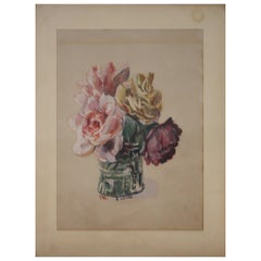 Flower Still Life Watercolor by Oskar Laske