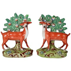 Early Staffordshire Pearlware Pair of Deer Bocage Figures, circa 1825