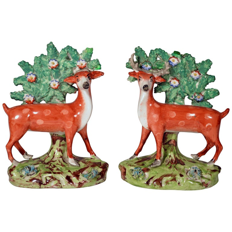 Early Staffordshire Pearlware Pair of Deer Bocage Figures, circa 1825 For Sale
