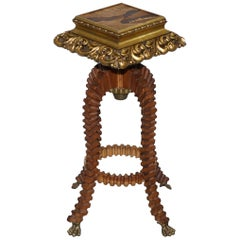 Very Rare Small Sample Wood Side Table after Emile Gallé Sculptural Frame Look