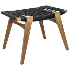 Contemporary Pi Stool, Oak Frame with Fumed, Oil-Finish, Black Danish Cord Seat