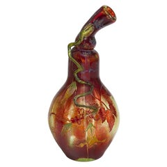 Gourd-Shaped Enameled Glass Vase by Portieux Vallerysthal