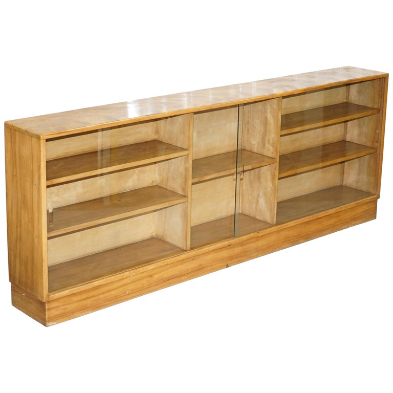 Large Sideboard Sized Light Mahogany Bookcase Glass Doors
