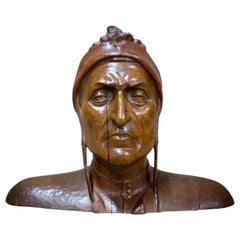 Wooden Head Statue of Danté Alighieri, Hand Made Arts & Crafts, Germany, 1880