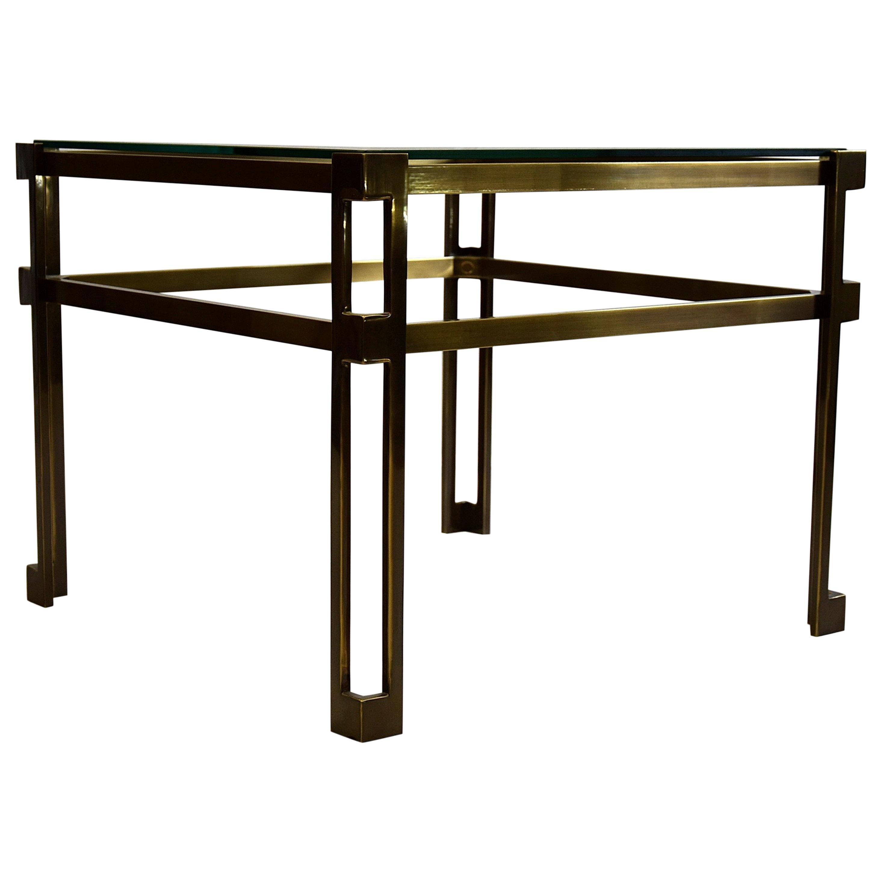 Maison Jansen Brass Hollywood Regency Side Table