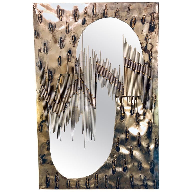 Paul Evans Style Brutalist Artisan Wall Mirror with Welded Rods For Sale