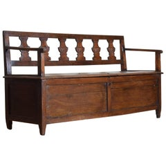 Italian, Emiliana (Modena), Neoclassical Walnut and Elmwood Storage Settee