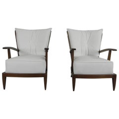 Pair of Sculptural Paolo Buffa Armchairs Italian Midcentury