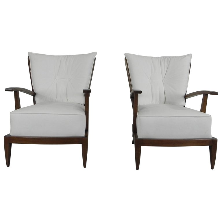 Pair of Sculptural Paolo Buffa Armchairs Italian Midcentury For Sale