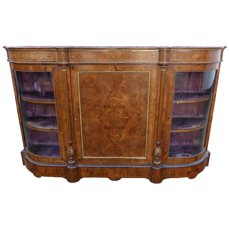 19th Century Victorian Burr Walnut Inlaid Credenza