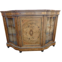 19th Century Victorian Burr Walnut Inlaid Credenza
