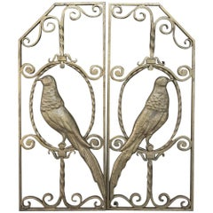 Pair of French Art Deco Gilded Wrought Iron Gates