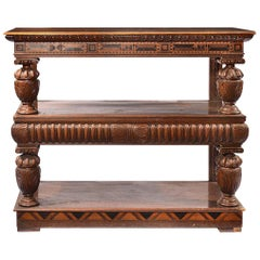 Late 19th Century Jacobean Style Three Tier & Rosewood & Satinwood Inlaid Buffet