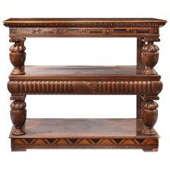 19th Century Oak Jacobean Style Three Tier Rosewood & Satinwood Inlaid Buffet
