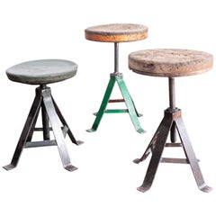 1950s Set of Three French Industrial Swivelling Welders Stools
