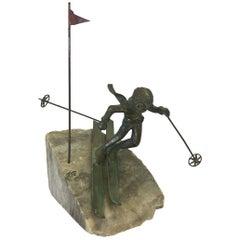 Bijan Signed Brass Brutalist Table Sculpture Skier Ski
