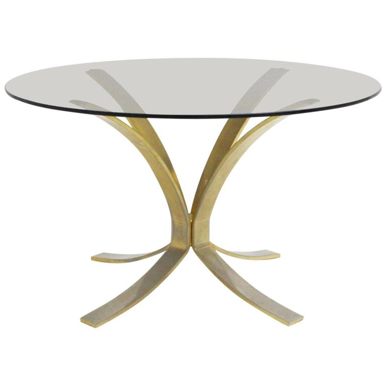Mid-Century Modern Brass Glass Coffee Table by Roger Sprunger, 1960s For Sale