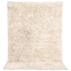 Vintage Midcentury Swedish Modern Rya Natural Beige Wool Shag Rug