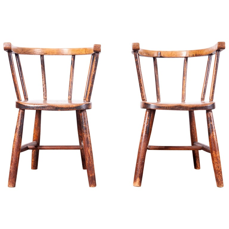 1890s Pair of Victorian Childs Chairs For Sale