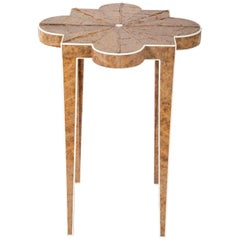 Art Deco Style Tabaco Leaf and Faux Ivory Side Table
