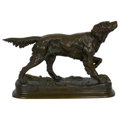 Antique French Bronze Sculpture of Setter Retriever Dog by Jules Moigniez
