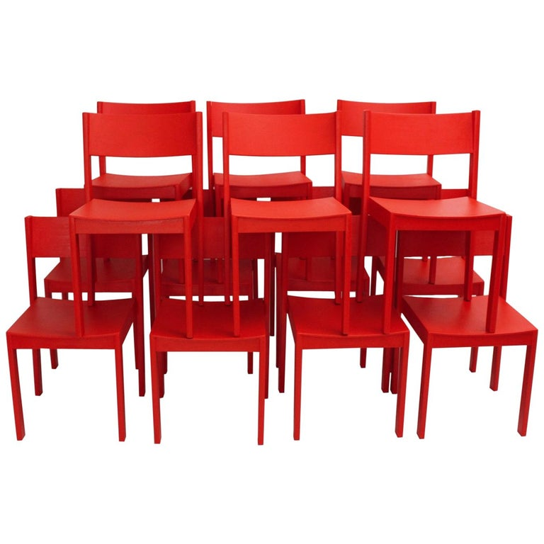 Mid-Century Modern Vintage Red Dining Room Chairs Carl Auböck, 1956, Vienna For Sale