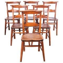 1890s Set of Six Victorian Chapel or Church Dining Chairs