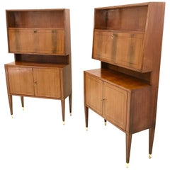 Pair of Midcentury Mahogany Cupboards in the Style of Paolo Buffa, Italy, 1950s