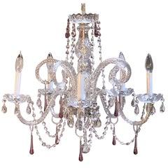 """Italian Five-Light Venetian Crystal Drop Chandelier or Hanging Fixture (Dia 24"""")"""