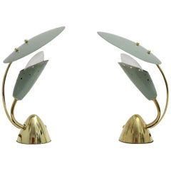 Mid-Century Modern Green Metal Vintage Bedside Lamps by Arredoluce 1950s, Italy