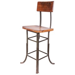 1930s American Industrial High Work Stool or Chair