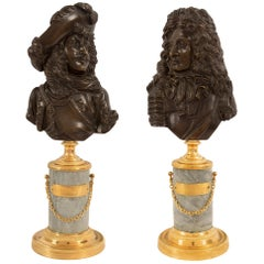 Pair of French 19th Century Louis XVI Style Bronze, Ormolu and Marble Bust