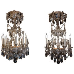 French Pair of Chandeliers by Baguès and Baccarat, Silver-Plate and Cut Crystal