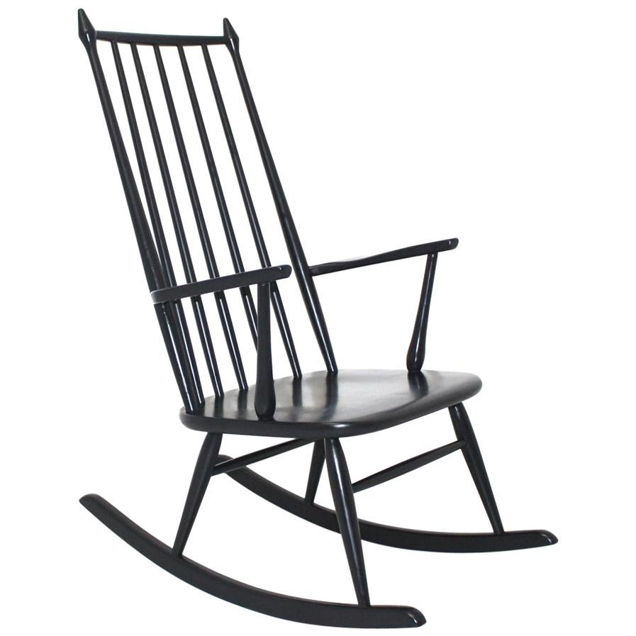 Scandinavian Modern Black Beech Vintage Rocking Chair, 1960s