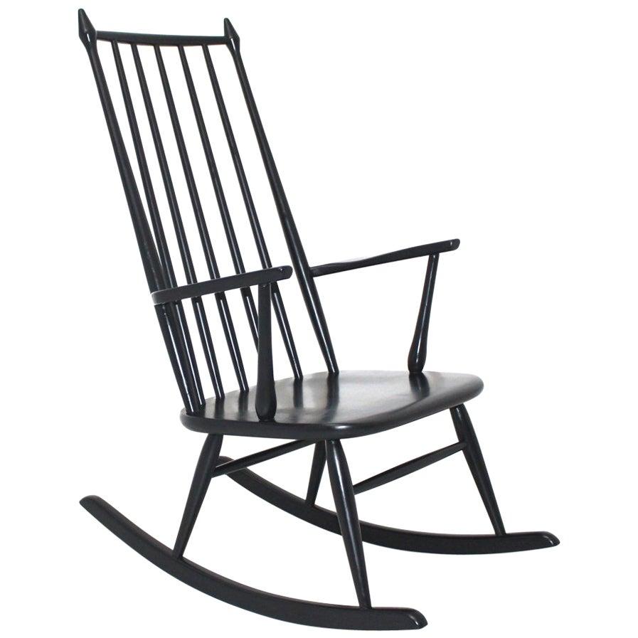 Scandinavian Modern Black Beech Vintage Rocking Chair, 1960s