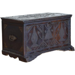 Spanish Baroque Style Leather Covered Trunk with Nailhead Decoration
