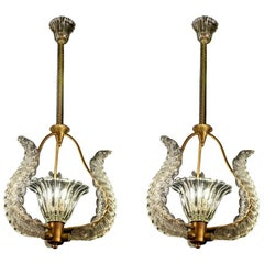 Pair of Liberty Pendants or Lanterns by Ercole Barovier, 1940s