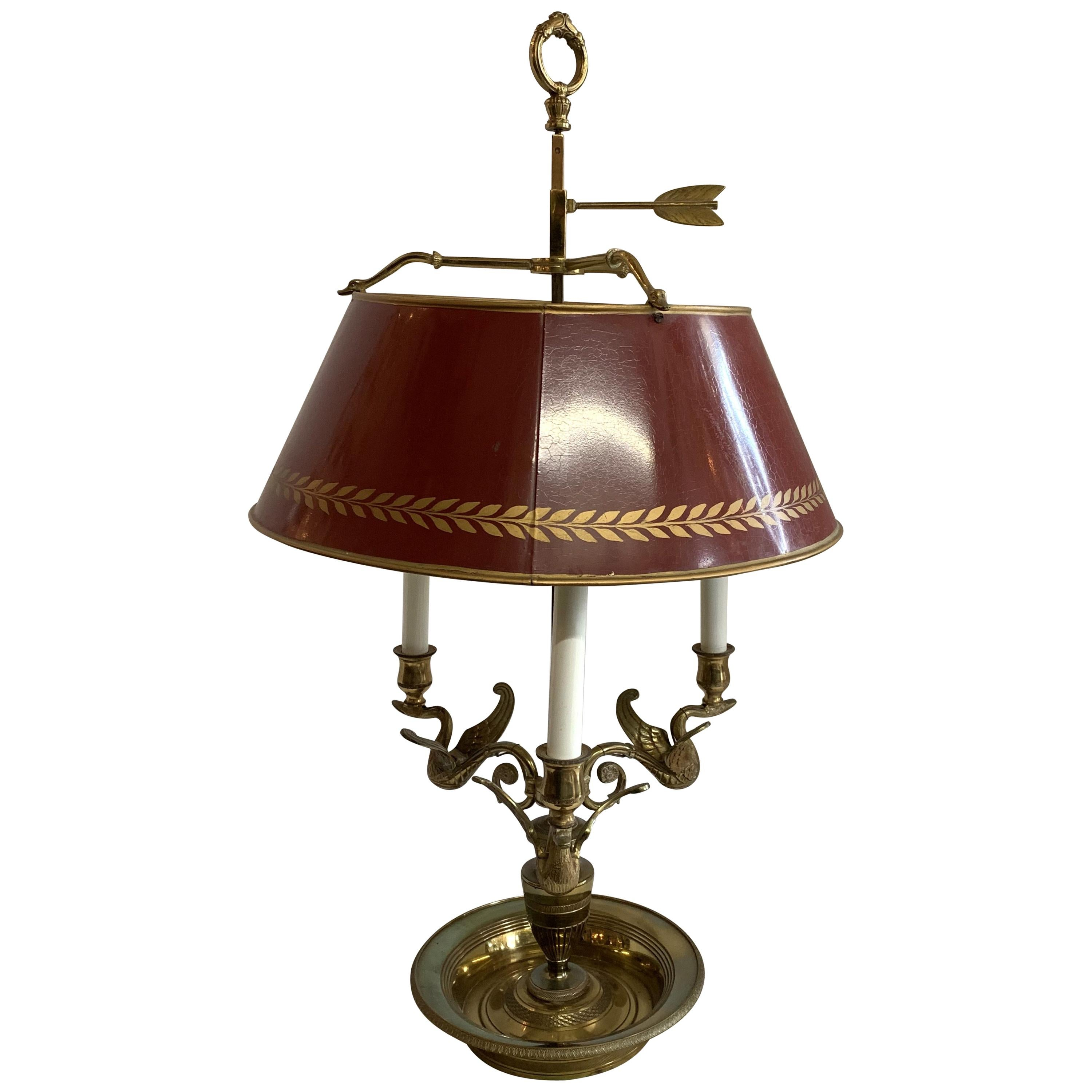 Wonderful Vintage French Bronze Swan Red Tole Shade Bouillotte Lamp 3 Lights