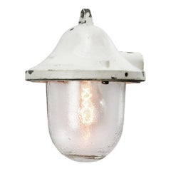 White Cast Aluminum Vintage Industrial Ribbed Glass Hanging Lamps