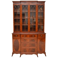 Antique Georgian Style Inlaid Mahogany Breakfront Bookcase