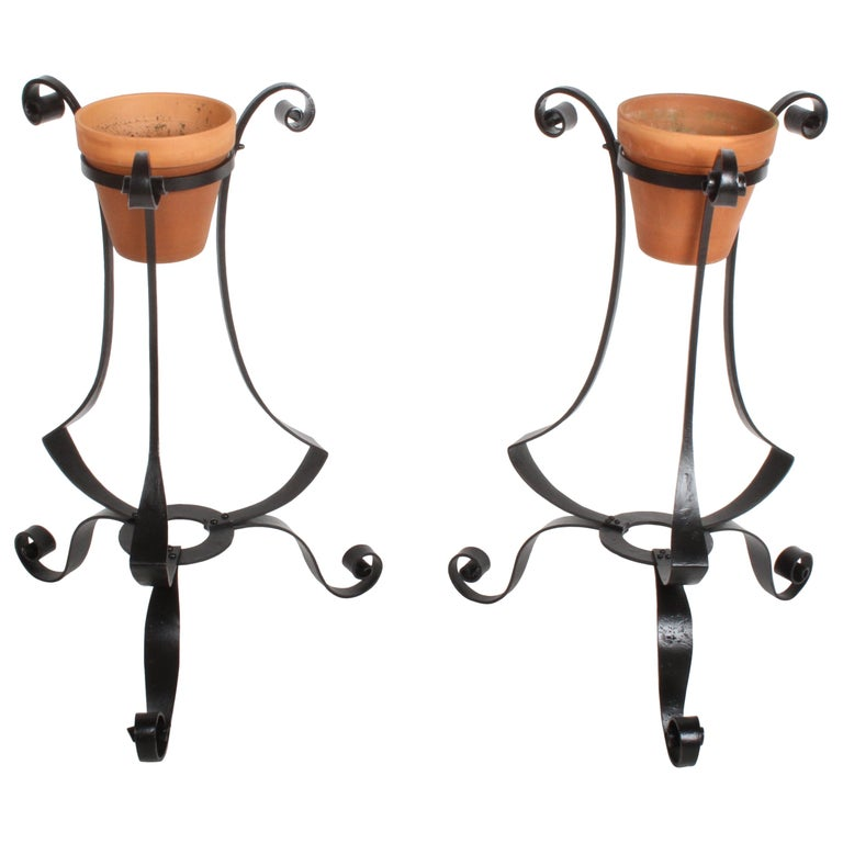 Pair of Arts & Crafts Wrought Iron Planters, Restored For Sale