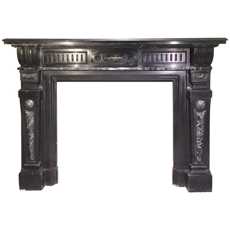 """20th Century Italian """"Nero Di Belgio"""" and """"Verde Di Prato"""" Marble Fireplace For Sale"""