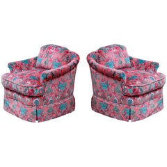 Marvelous Pair of Classic Rolled Arm Velvet Animal Print Club or Lounge Chairs