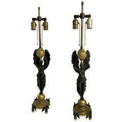 Wonderful Pair French Empire Bronze Two-Tone Figural Eagle Base Lamps