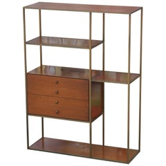 Modern Brass and Walnut Calvin Bookcase/ Room Divider by Paul McCobb