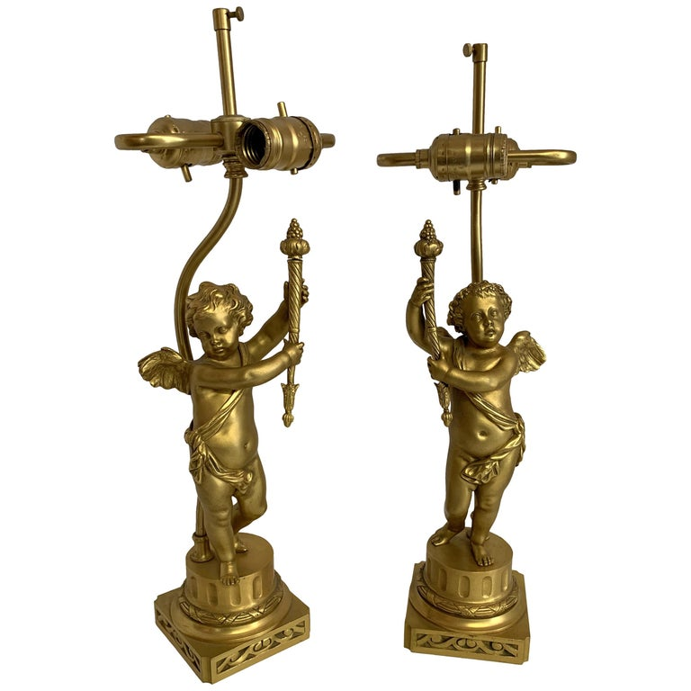 Wonderful Pair of French Dore Bronze Cherub Putti Figural Torch Lamps Sculptures For Sale